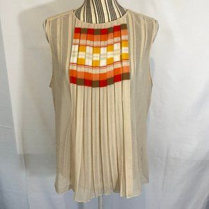 Vince Camuto Tan Sheer Layered Blouse SZ L